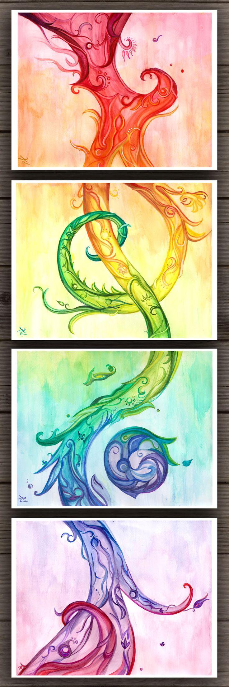 Rainbow Beanstalk Abstract Art Set