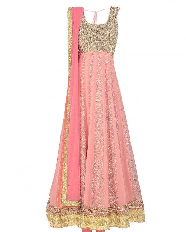 Blush Peach Sleeveless Anarkali Suit