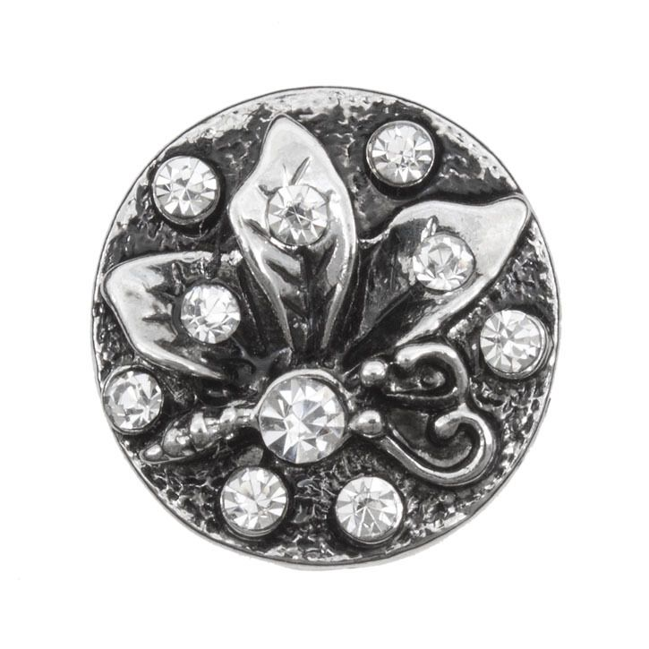 Snap! Metal with Stones Interchangeable Fastener Round Butterfly 20MM Crystal Antique Nickel 1pc Off Price Policy - 4005-0104-005 - Club Bead Plus