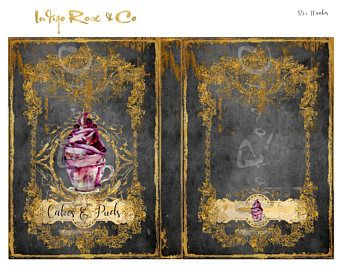 4x RECIPE BOOK COVERS Cupcake chalkboard Great Gift Cakes & Puddings Desserts Gold Foil Stationery Print Digital Download Journal Decoupage