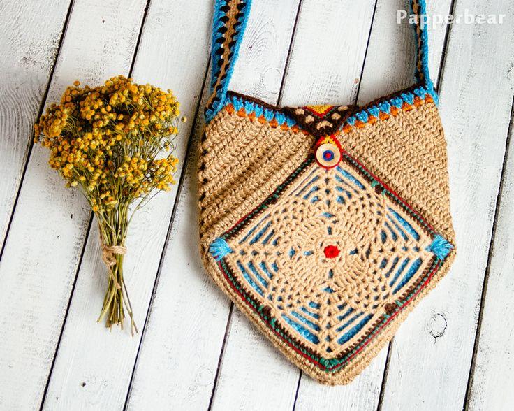 Knitted Bag, ladies handbag, folk style, handmade, Boho style, vintage bag