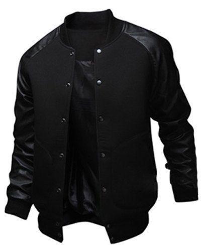 Slimming Trendy Stand Collar Large Pocket Color Splicing Long Sleeve Polyester Jacket For Men