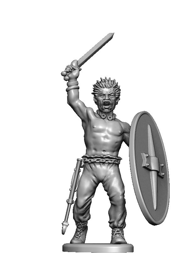 Gallic infantry render. Plan 48 man set with command and many build options.