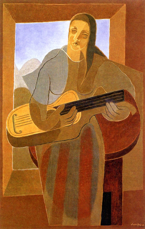 THE GUITAR PLAYER Los primeros intentos  de Juan Gris como pintor cubista son de 1910, cuando fue dejando gradualmente las labores de ilustración, aunque en los museos españoles existen pocos ejemplos de esta fase. El Museo Thyssen-Bornemisza posee un dibujo de 1911 que sorprende por su radicalidad.