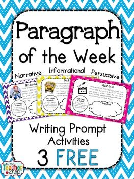 """FREE: Paragraph of the Week: 3 Weeks FREE!! } Writing Homework, Literacy Centers, etc... English Language Arts, Writing-Expository, Writing 3rd, 4th, 5th, 6th, 7th  Activities, Homework, Literacy Center Ideas...Get 3 FREE weeks of my """"Paragraph of the Week"""" writing resource!!! This FREE resource was created to support the English Language Arts Common Core Standards in Writing."""
