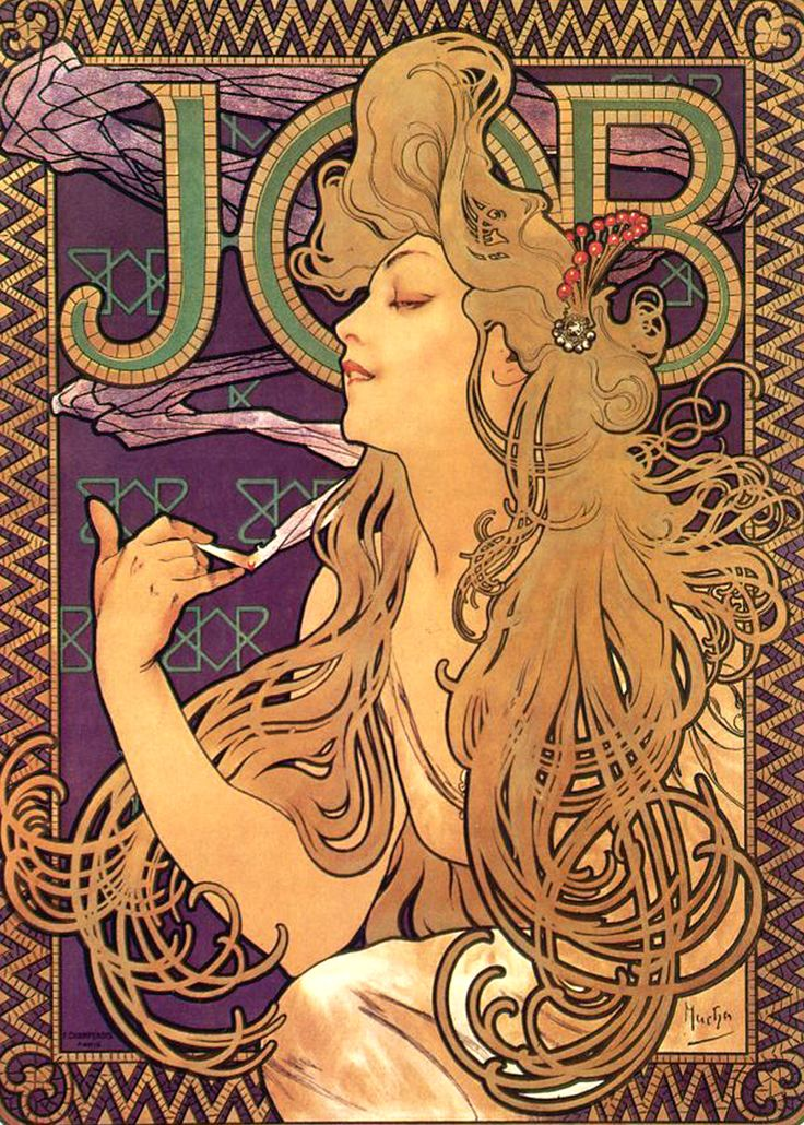 Alphonse Mucha - Job Cigarettes 1 Alphonse Mucha was a Czech Art Nouveau painter and decorative artist, known best for his distinct style. He produced many paintings, illustrations, advertisements, postcards, and designs. Brought to you by masterpieceart.net/