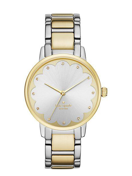 two-tone scallop gramercy watch, two tone gold