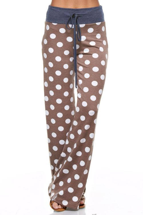 Mocha Polka Dot Lounge Pants - Fabric Content: 68% POLYESTER 29% RAYON 3% SPANDEX - Made In USA Items will fit differently depending on body type. Pattern will vary due to the cut of fabric and may no