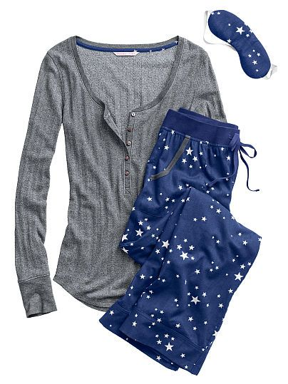 or, instead of the satin one's: The Dreamer Henley Pajama-short/L, navy stars - Kristin