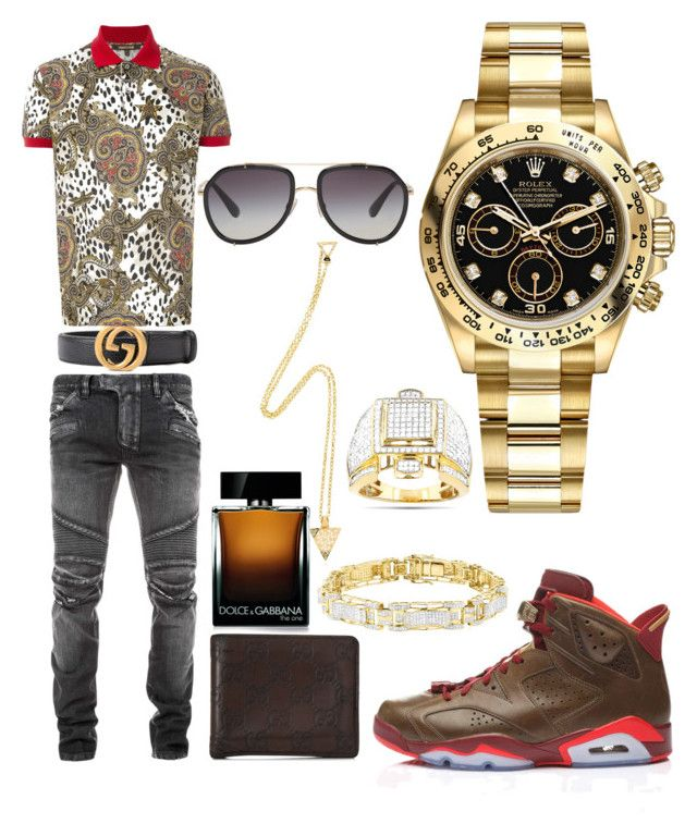 """Casual"" by pitbull8382 on Polyvore featuring Balmain, Gucci, Roberto Cavalli, Retrò, Dolce&Gabbana, Rolex and Marco Ta Moko"