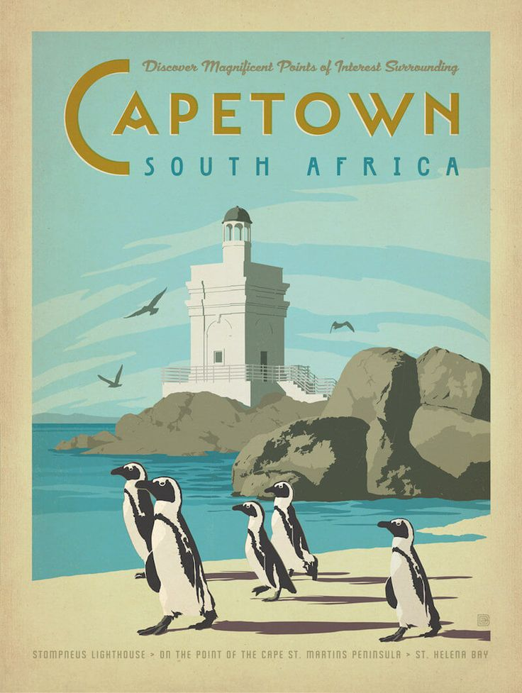 Capetown South Africa vintage travel poster