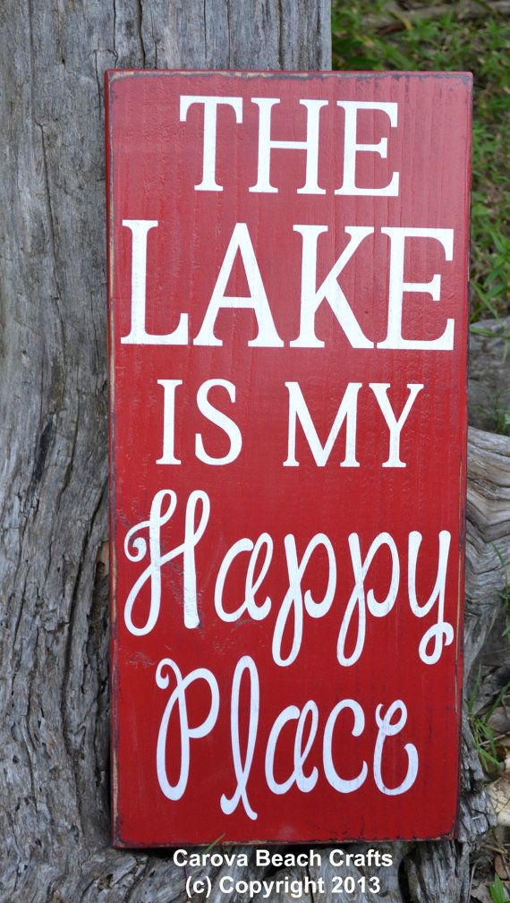 Lake House Decor - Lake House Sign - Lake Sign - 20x10 - Cabin - Home Decor - Rustic Primitive Vintage - Red - Lake Happy Place - Wood