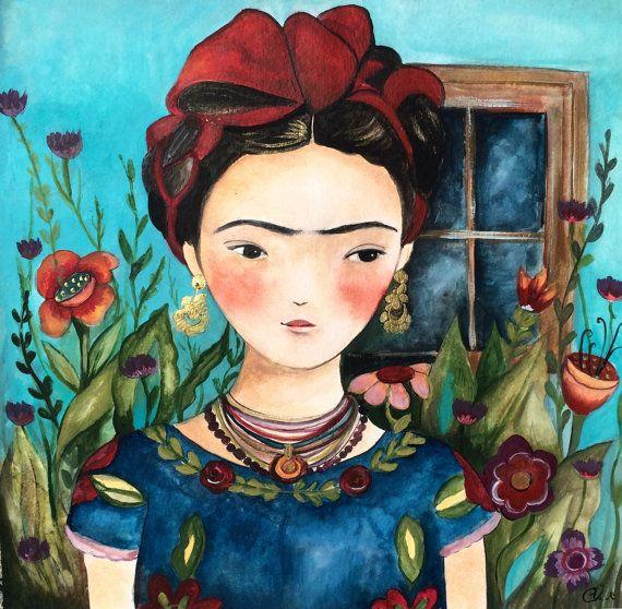 Frida en su jardín arte grabado por claudiatremblay en Etsy Más