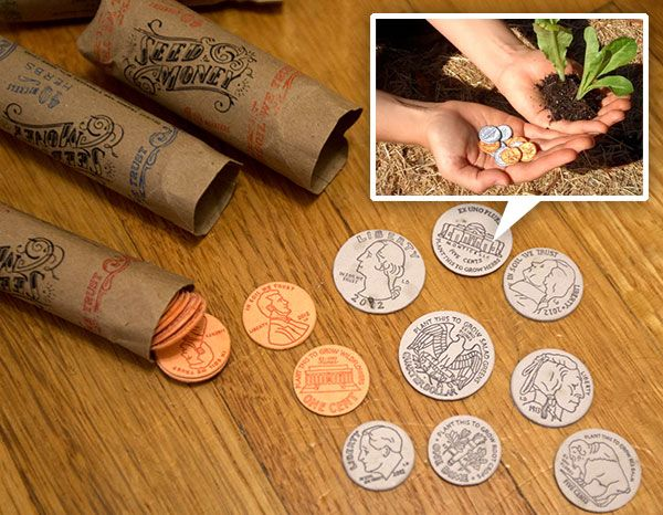 Seed Money by Leafcutter Designs! These coins can be planted to grow goodness! Made from custom made seed filled paper that is then letterpressed and cut. Great packaging!