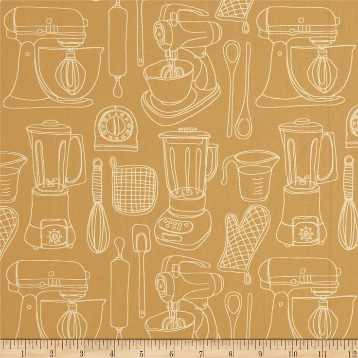 Kitschenette Kitchen Tools Tan from @fabricdotcom  Designed by Claudine Hellmuth for Andover Fabrics, this cotton print is perfect for quilting, apparel and home decor accents.  Colors include sand and cream.