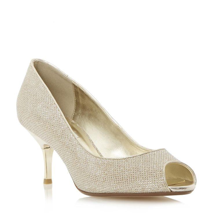 DUNE LADIES DELIA - Peep Toe Kitten Heel Court Shoe - gold   Dune Shoes Online