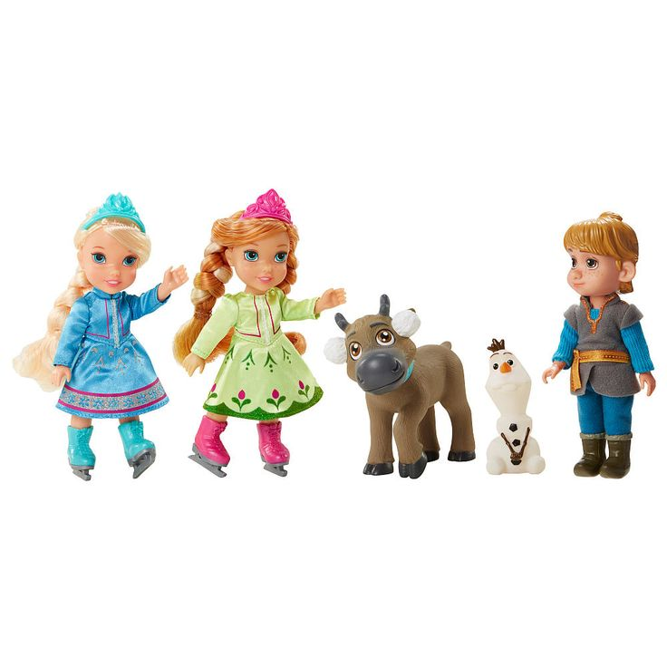 Have fun with these Frozen friends as they ice skate the day away! This set includes Petite Anna, Elsa, Kristoff, Sven and Olaf! Anna & Elsa are dressed in their ice skating fashions with removeable ice skates!