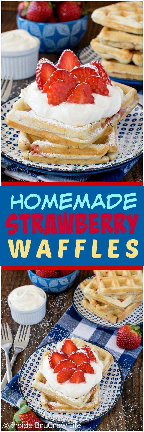 Homemade Strawberry Waffles - this easy breakfast recipe is loaded with fresh berries!  Add some lemon cream and more berries for a fun breakfast recipe!