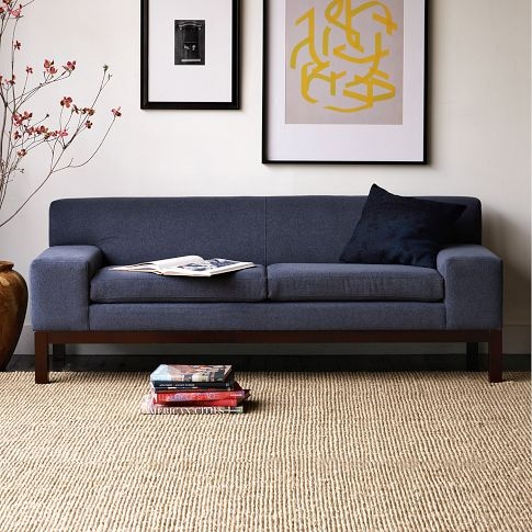 Lorimer Sofa - West Elm  Not sure if the back is high enough to relax...