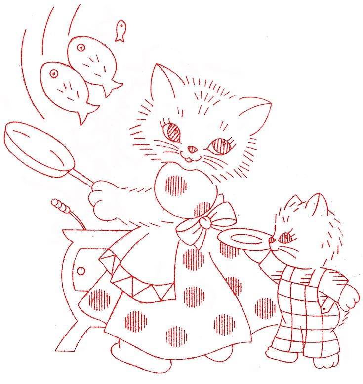 Vintage Embroidery - Kitty Family DOW - Momma Cooking