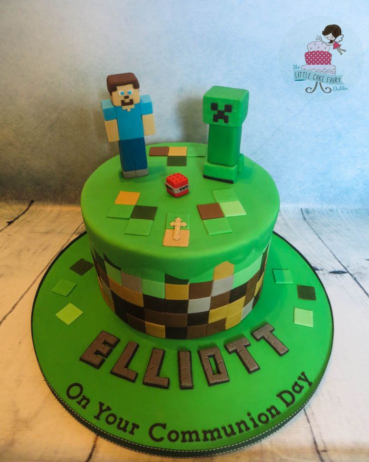 Minecraft Communion Cake www.littlecakefairydublin.com www.facebook.com/littlecakefairydublin