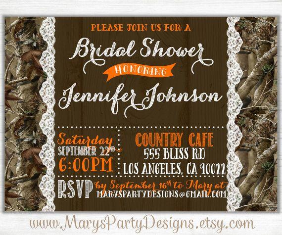 Camo Wood N Lace Bridal Shower Invitation  by MarysPartyDesigns, $15.00