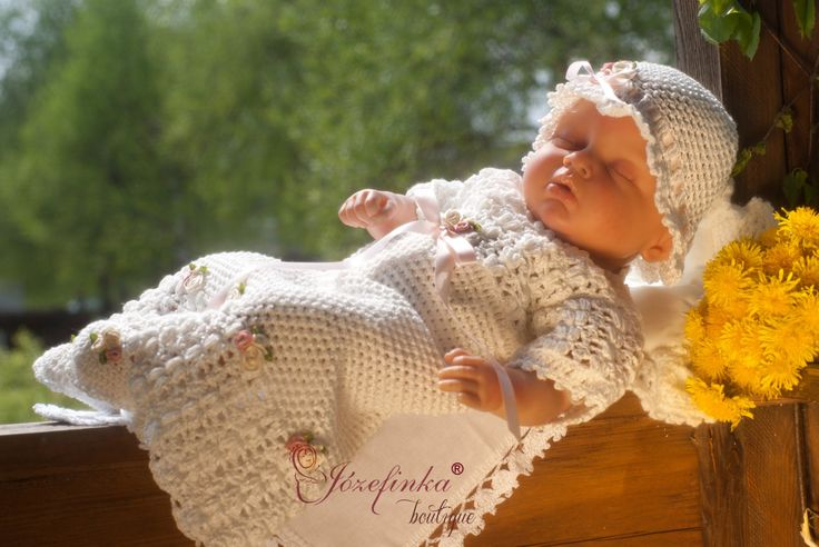Baptism dress,crochet Baby dress,baby girl clothes,christening gown,flower girl dress, dress for girls, by JozefinkaBoutique on Etsy