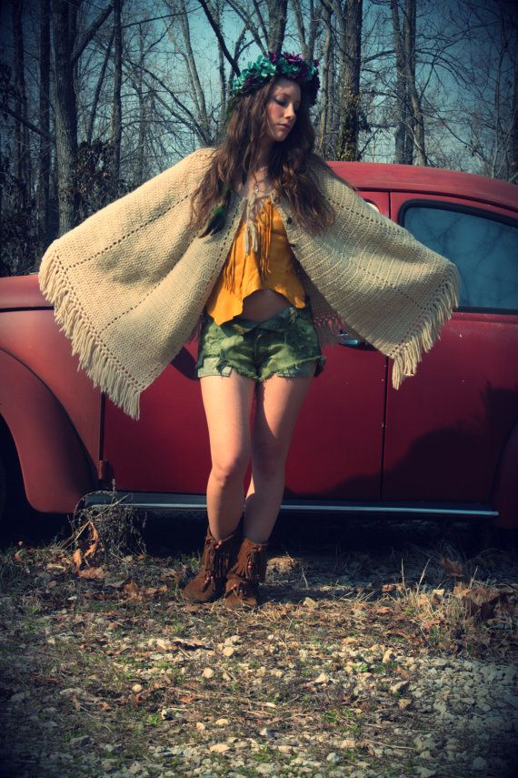 Around the World Tan Brown Knit Poncho Cape by WonderlandRevival, $35.00