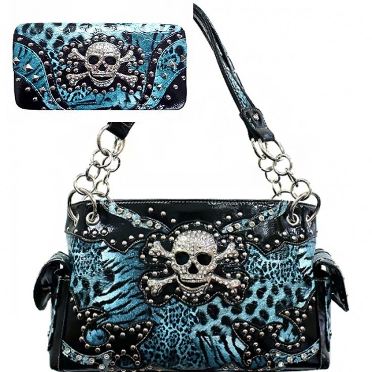 Blue Leopard Print Skull Studded Conceal and Carry Purse W Matching Wallet