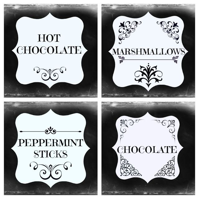 Ribbonwood Cottage: FREE Chalkboard labels for your own Hot Chocolate Station.