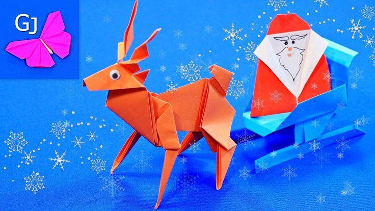Оригами олень. Красивый олень для новогодних праздников.