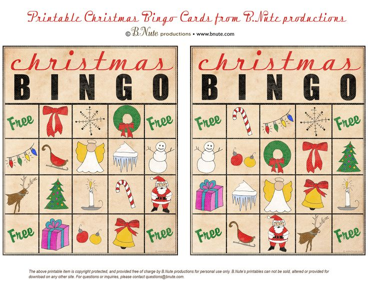 Christmas printables images | Free Printable Christmas Bingo Cards from B.Nute productions. These are really adorable.