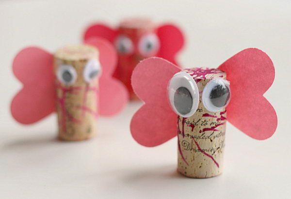 50  Homemade Wine Cork Crafts, http://hative.com/homemade-wine-cork-crafts/,  Love bugs for Valentine's?