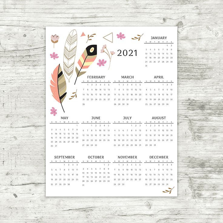 2021 Year At A Glance Calendar | Feathers | Printable ...