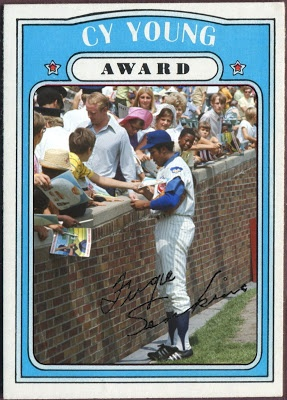 1972 Topps Cy Young Award - Fergie Jenkins, Chicago Cubs. Baseball Cards That Never Were.