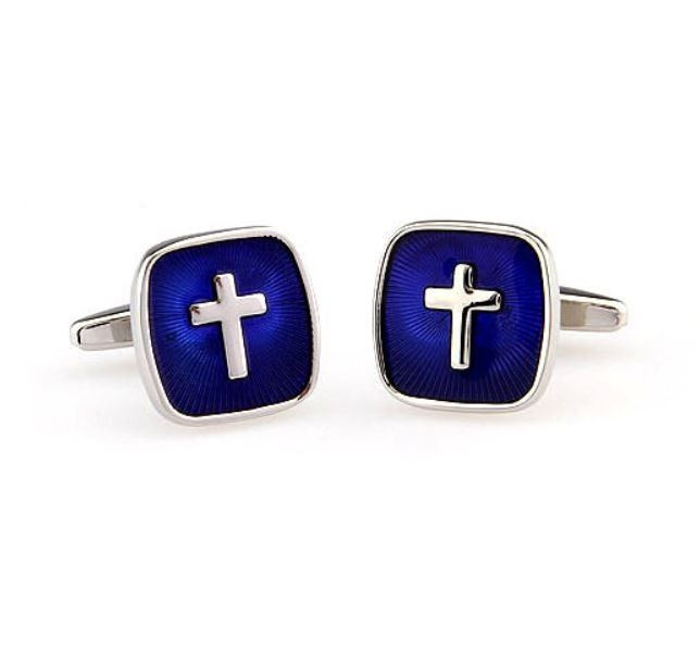 The Blue and Silver Cross Cufflinks