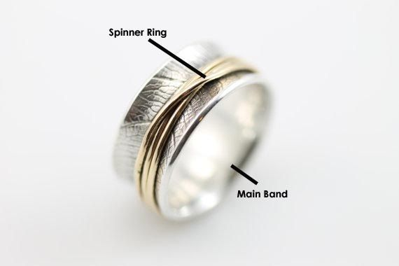 spinner ring, meditation ring, fidget, fidget ring, worry ring, meditation, fidget jewelry, spinning rings, meditation rings, silver spinner ring, spinner rings  The ring is approximately 7mm wide.  All of my rings use metals that are recycled and are made in my eco-friendly studio. The silver that I use is tarnish-resistant Sterling Silver.  This is a narrow version of the Tsutsumu Spinner Ring with an overall width of 7mm versus the 10mm of the regular Tsutsumu ring. The band has a bodhi…