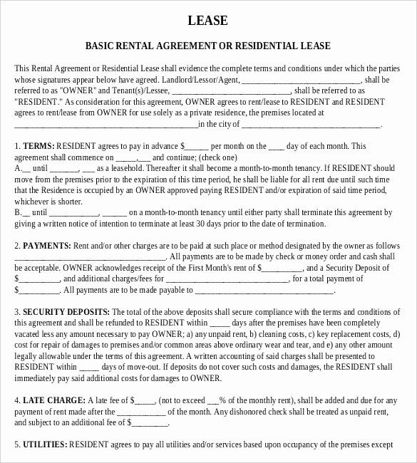 Rent Contract Template Free New Free Lease Agreement Template Word Rental Agreement Templates Contract Template Lease Agreement
