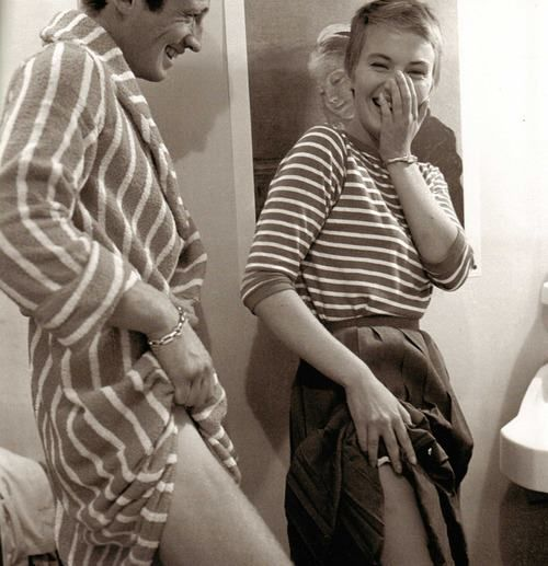 Jean-Paul Belmondo and Jean Seberg, set of À bout de souffle (Breathless)