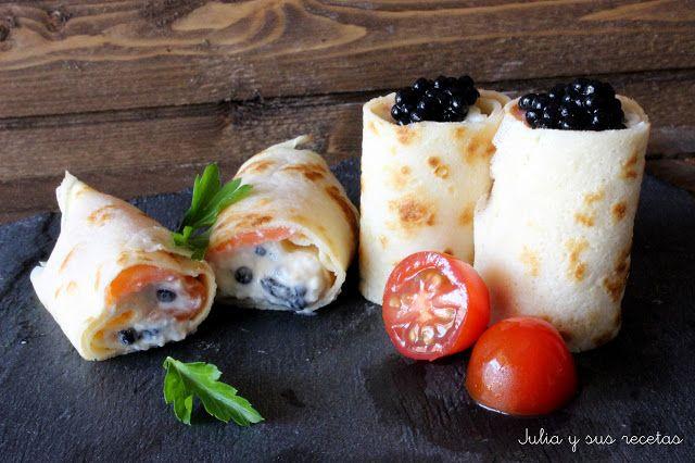 JULIA Y SUS RECETAS: Crêpes rellenos de salmón (fríos)
