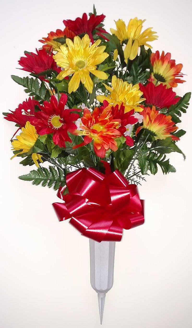 101 best graveyard flowers images on pinterest floral gerbera cemetery vase with orangeyellowred flowers 27 inch reviewsmspy