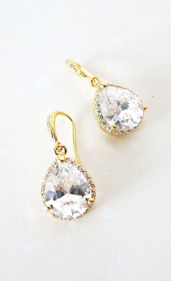 Luxe Cubic Zirconia Teardrop Silver Earrings, gifts for her, Bridal Earrings, Bridesmaid earrings, white silver weddings, jewelry, gold weddings, by GlitzAndLove, www.glitzandlove.com
