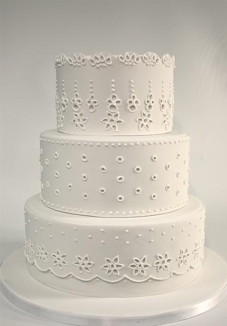 Eyelet Embroidery Wedding Cake