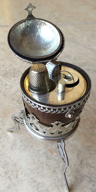 Antique Silver and Walnut Sewing Etui Necessaire.