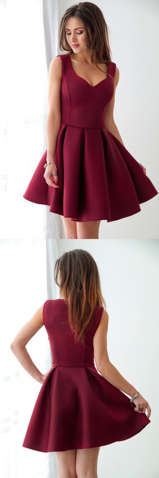 cute burgundy homecoming dresses, simple semi formal dresses, chic fashion maroon short prom dresses.