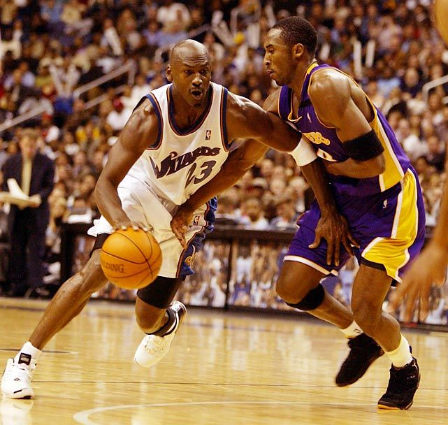 Michael going up against a younger Kobe Bryant as a member of the Washington Wizards