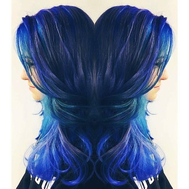 Neon Multi-Dimensional Blue Hair