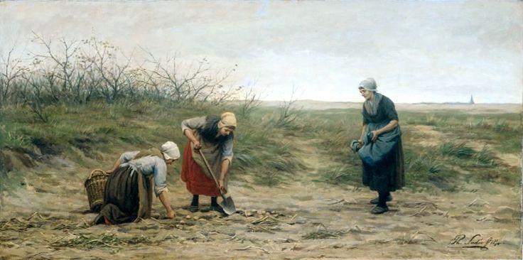 Philip Lodewijk Jacob Frederik Sadée (1837 -1904) Scheveningse vrouwen bij het nalezen van een gerooid aardappelveld, 1874.