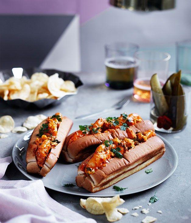 Prawn, corn slaw and chervil rolls recipe, Waterman's Lobster Co, Sydney :: Gourmet Traveller