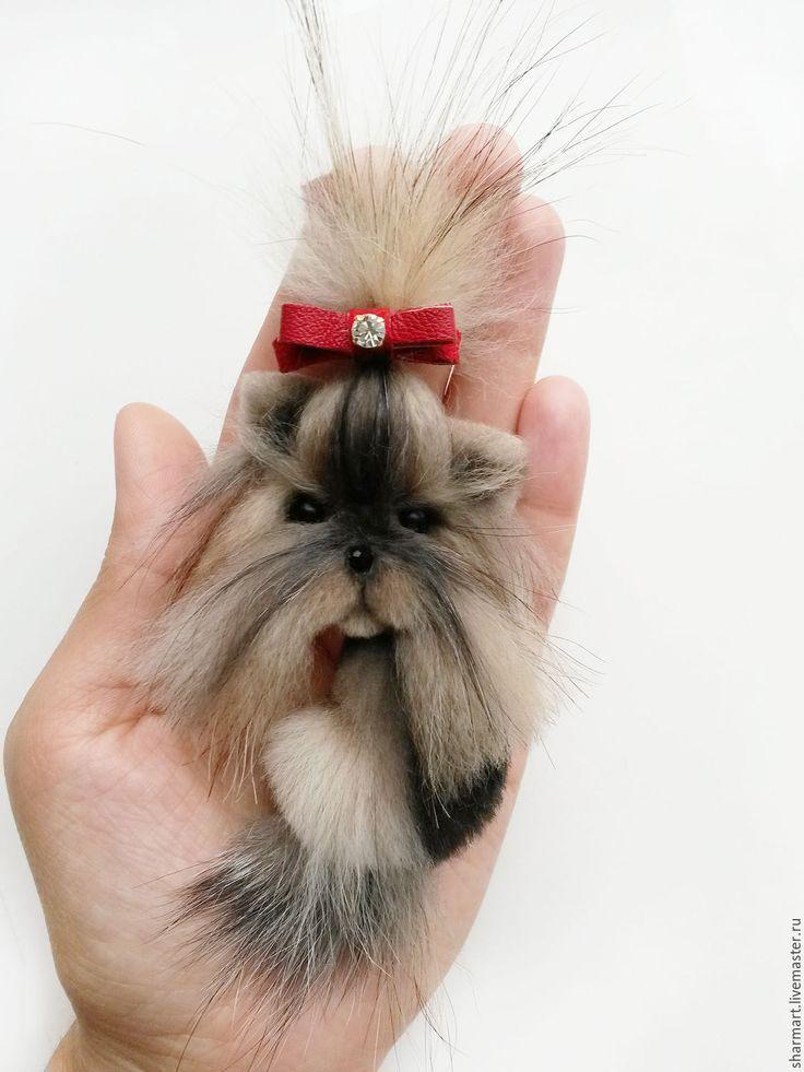 Купить Брошь собачка Бусинка - комбинированный, брошь собака, авторские украшения, купить подарок девушке